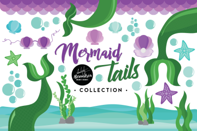 Mermaid Tails Graphics & Patterns Bundle