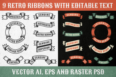 Authentic retro ribbons