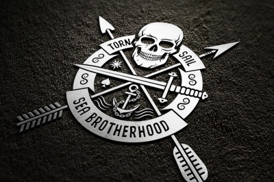 Skull logo set on dark
