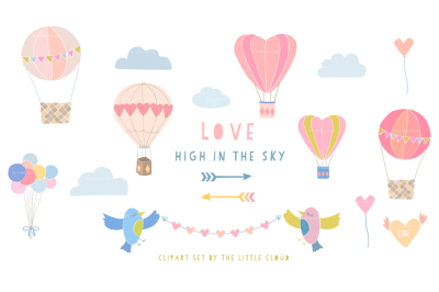 Hot air balloons love clipart set