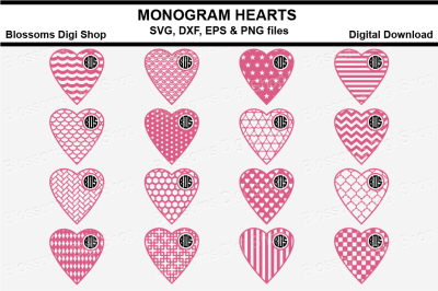 Monogram Pattern hearts bundle SVG, DXF, EPS and PNG files