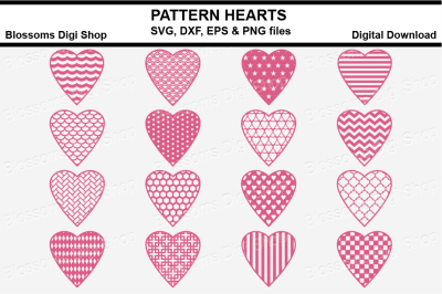 Pattern Hearts bundle SVG, DXF, EPS and PNG files