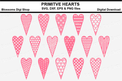 Primitive heart bundle SVG, DXF, EPS and PNG files