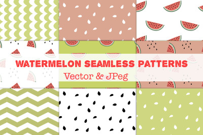 Watermelon seamless vector patterns