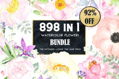 92% OFF Watercolor flowers BUNDLE