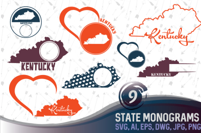Kentucky Monograms SVG, JPG, PNG, DWG, AI, EPS
