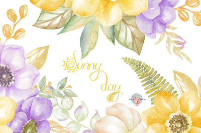 Sunny Day Watercolor Clipart
