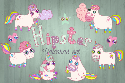 Hipster Unicorns Set