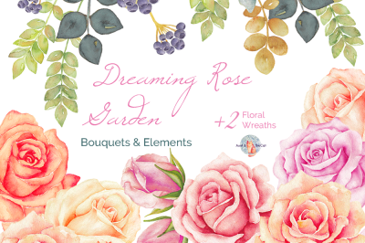 Dreaming Rose Garden Watercolor Clipart