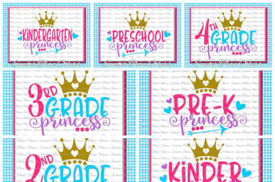 School Princess SVG Bundle Kindergarten First Day of School SVG and DXF Files Silhouette Studios Cameo Cricut, Instant Download Scal