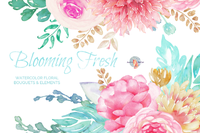 Blooming Fresh Watercolor Clipart
