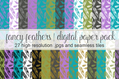 Feathers Seamless Pattern Pack