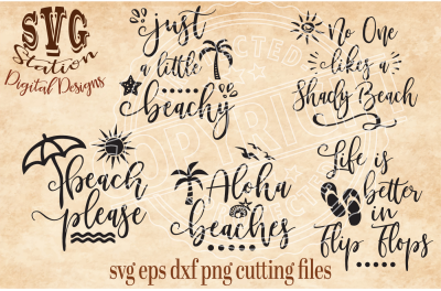 Summer and Beach / SVG DXF PNG EPS Cutting File Silhouette Cricut Scal