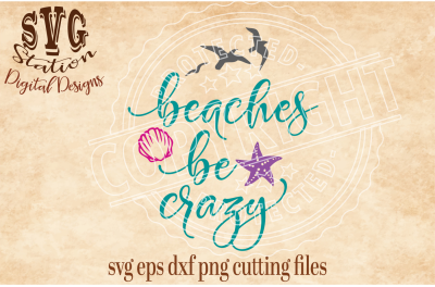 Beaches Be Crazy / SVG DXF PNG EPS Cutting File Silhouette Cricut Scal