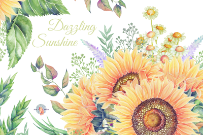 Dazzling Sunshine Watercolor Clipart
