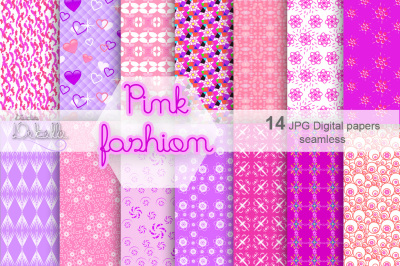 PINK FASHION - 14 DIGITAL PAPERS SEAMLESS PATTERNS