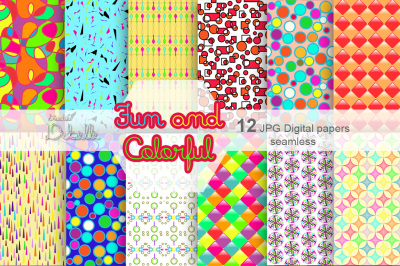 Fun and Colorful digital paper seamless pattern
