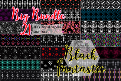BLACK FANTASTIC - 21 DIGITAL PAPERS SEAMLESS PATTERNS