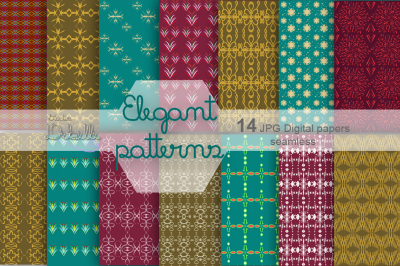 Elegant Patterns digital paper pack seamless patterns