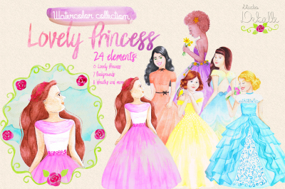 LOVELY PRINCESS - watercolor clipart collection