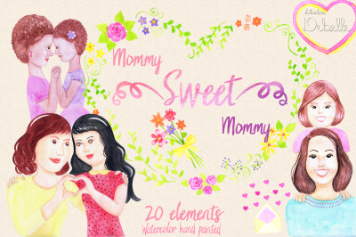 MOMMY SWEET MOMMY - watercolor handmade clipart collection - 20 elements