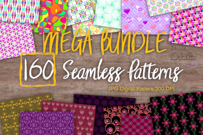 MEGA BUNDLE - DIGITAL PAPERS SEAMLESS PATTERNS - Pack of 160 JPG digital papers high resolution