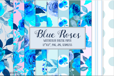 Digital Paper Blue Rose Watercolor