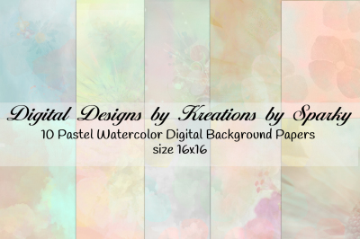 16x16 Pastel Watercolor Digital Background Papers