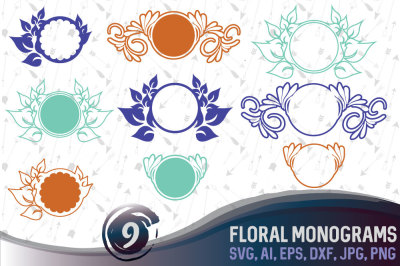 9 Floral Monograms Bundle - SVG, AI, EPS, PNG, DXF, JPG