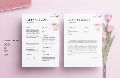 Oil Paint Flower Resume Template / CV template / Coverletter /M