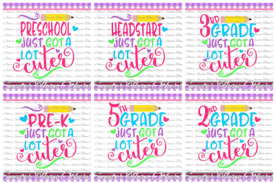 School Cuter SVG Bundle Kindergarten First Day of School SVG and DXF Files Silhouette Studios Cameo Cricut, Instant Download Scal
