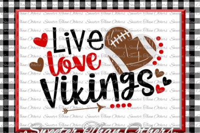 Football SVG Live Love Vikings Football Svg Distressed Football pattern Vinyl Design SVG DXF Silhouette, Cameo, Cricut, Instant Download