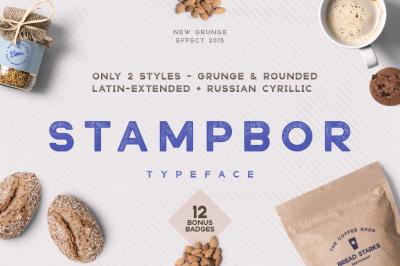 Stampbor Font & Badges