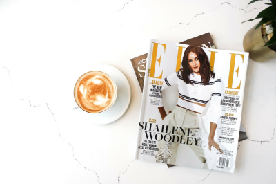 Fashion Magazine + Latte Styled Flatlay on Marble