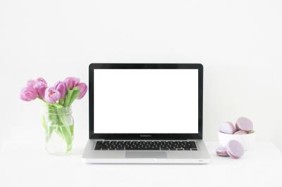 Feminine Styled Desktop with Tulips + Macbook Pro