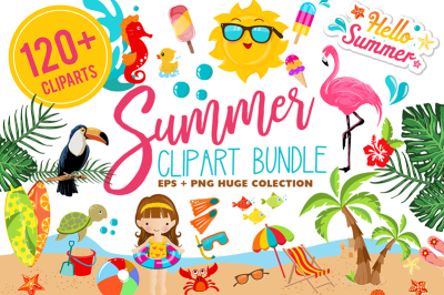 Summer Clipart Bundle - 126 cliparts Eps and PNG