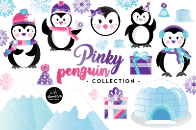 Pinky Penguin Graphics & Patterns Bundle