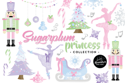 Sugar Plum Princess Graphics & Patterns Bundle