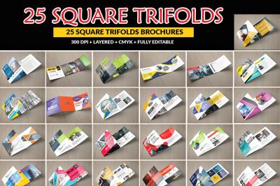25 Square Trifold Brochures Bundle