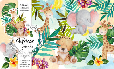 African Friends Clip Art