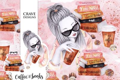 Coffee & Books Clip Art