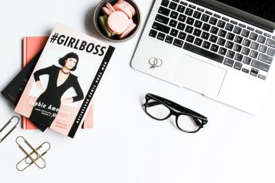 Girlboss Stock Photo with Macbook Air