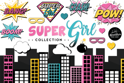 SuperGirl Graphics & Patterns Bundle