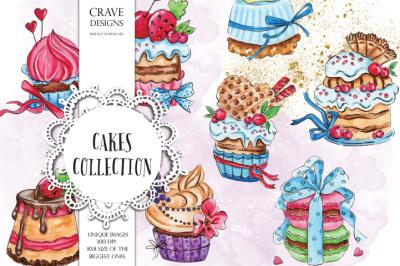 Cakes Watercolor Clip Art