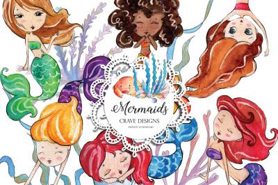 Watercolor Mermaids Clip Art