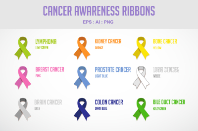 Cancer awareness ribbons