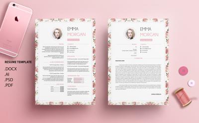 Vintange Floral Ver 2 Resume Template / CV template / Coverletter /M
