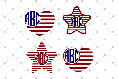 4th of July Stars and Hearts Monogram Files