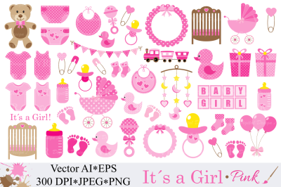 Baby Girl Clipart, Pink Baby Shower Clipart - Vector