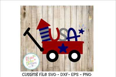 USA red wagon SVG EPS DXF PNG - Cutting file